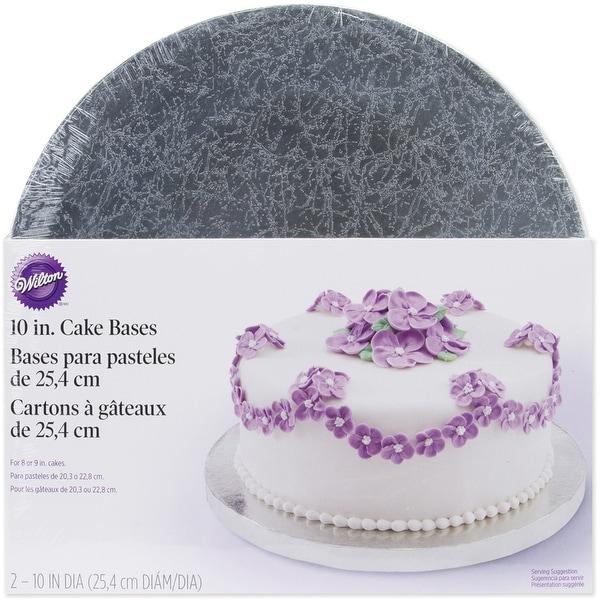 "Cake Bases-10"" Round Silver 2/Pkg"
