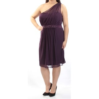 ADRIANNA PAPELL Womens Purple Beaded Sleeveless Asymetrical Neckline Knee Length Sheath Prom Dress Size: 16