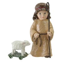 "4.25"" Boy Shepherd With White Lamb Christmas Nativity Decoration"