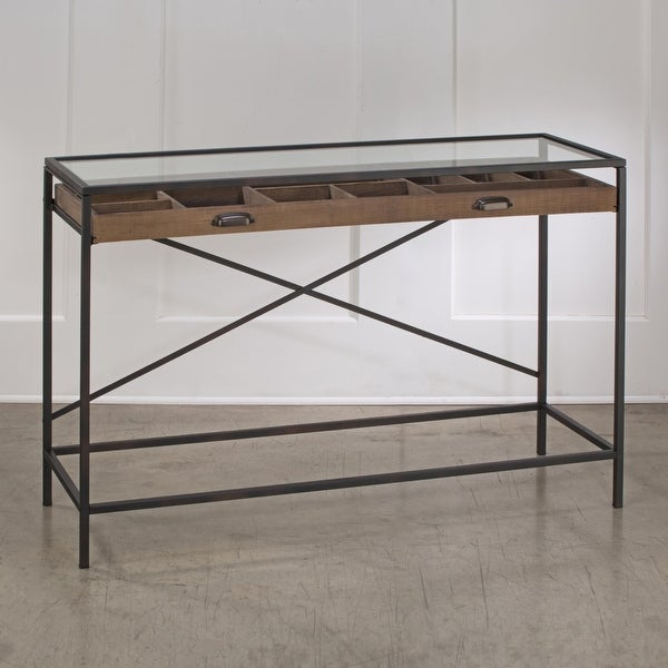 Glass Top Console Table with 1 Wooden Drawer. Opens flyout.