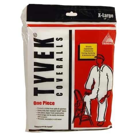 Trimaco 14123 Painter's Tyvek HD Heavy-Duty Coveralls, White, X-Large