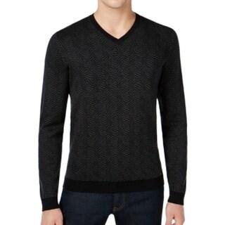 Calvin Klein NEW Gray Mens Size XL Geometric-Print V-Neck Silk Sweater
