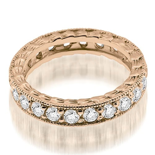 1.15 cttw. 14K Rose Gold Antique Style Round Cut Diamond Eternity Band Ring