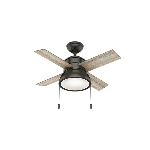 """Hunter 36"""" Loki Ceiling Fan with LED Light Kit and Pull Chain. Opens flyout."""