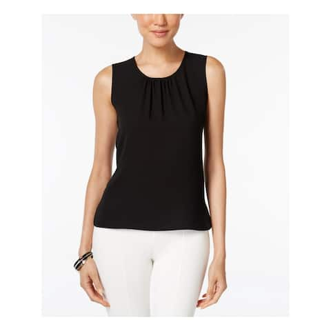 ANNE KLEIN Womens Black Sleeveless Jewel Neck Top Size 16