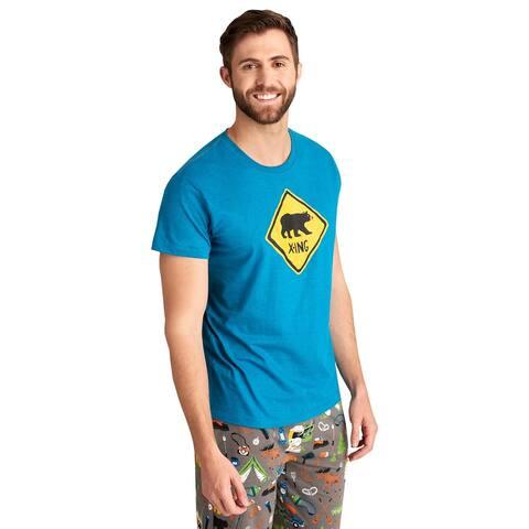 Little Blue House by Hatley Men's Bear X-Ing Sleep Shirt - Blue Pajama Top