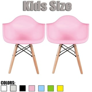 Link to 2xhome Set of 2 Modern Kids Size Molded Plastic Armchair with Arm Color Seat for Children's Room Natural Wood Eiffel Legs Similar Items in Kids' & Toddler Chairs