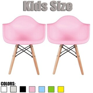 2xhome Set of Two (2) Modern Kids PlasticChair Armchair With ArmColors with Natural Wood Legs