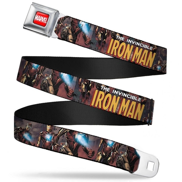 Marvel Universe marvel Full Color Red White The Invincible Iron Man W Iron Seatbelt Belt