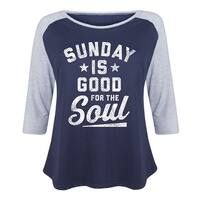 Sunday Is Good For The Soul - Ladies Plus Size Raglan - navy/athletic heather