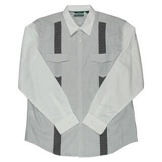 Cubavera Mens Poplin Slim Fit Button-Down Shirt - L