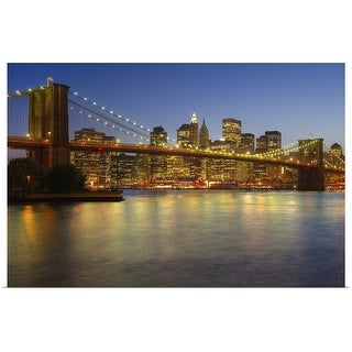 """Brooklyn Bridge and New York City buildings at night"" Poster Print"