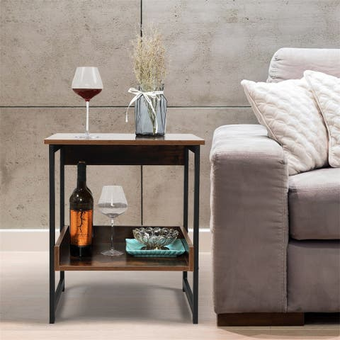 Industrial Home End Table, Night Stand Side Table with Storage Shelf