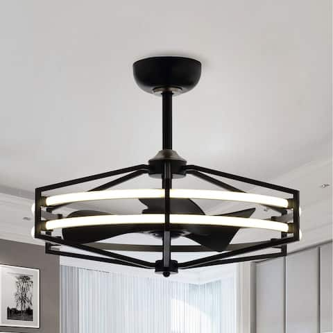 29-inch Black Reversible 3-Blade LED Ceiling Fan with Remote Control