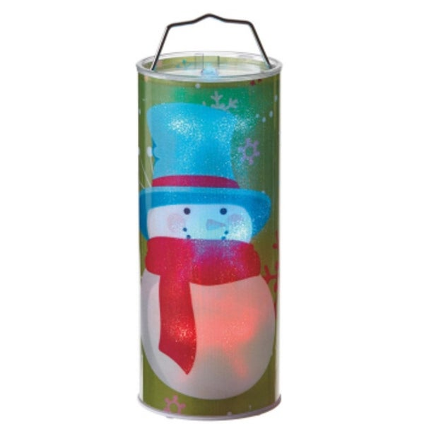 """12"""" Battery Operated Transparent Snowman LED Color Changing Lighted Hanging Christmas Lantern"""