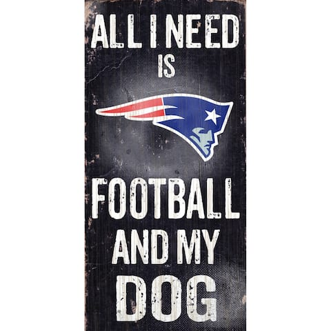 """New England Patriots Wood Sign - Football and Dog 6""""x12"""""""