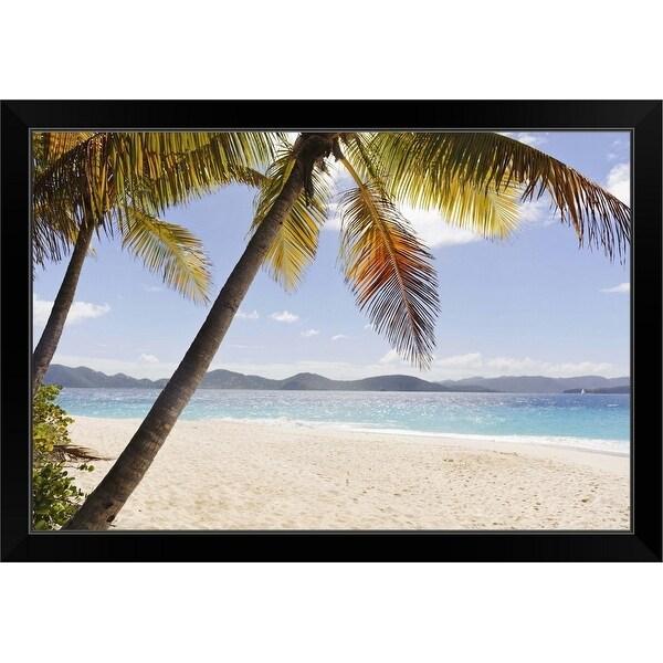 """Palms over sandy beach"" Black Framed Print"