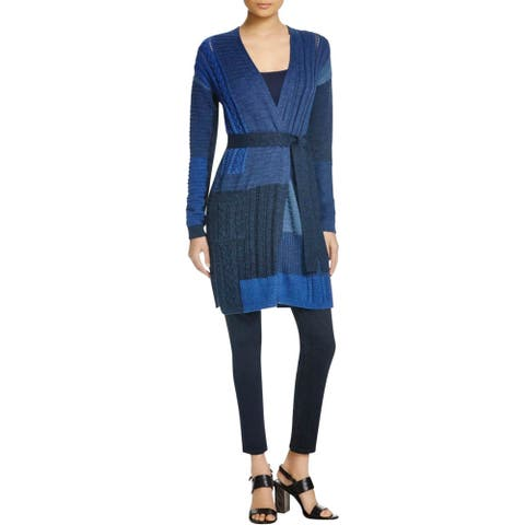 Diane Von Furstenberg Womens Petites Jackson Cardigan Sweater Cable Knit - Indigo Multi - P
