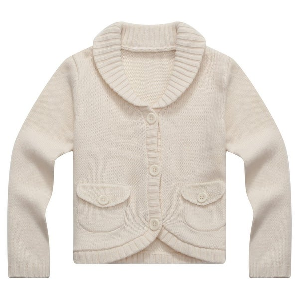 Richie House Baby Girls Beige Lapel Collar Lovely Cardigan 6M