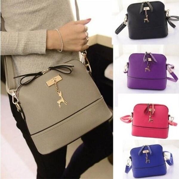 91ddb9954208 Shop Women Messenger Bags Vintage Small Shell Leather Handbag Casual ...