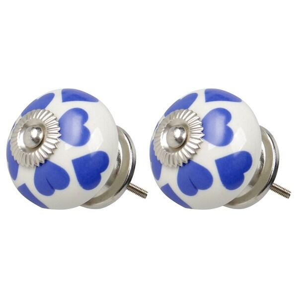 2pcs Ceramic Knobs Vintage Knobs Drawers Round Pull Handle Furniture Cupboard Wardrobe Dresser Door Decorative, Blue