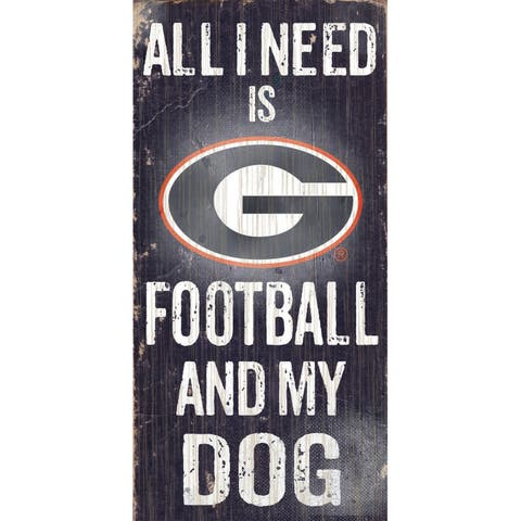 "Georgia Bulldogs Wood Sign - Football and Dog 6""x12"""