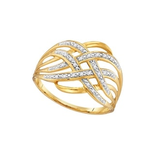 10kt Yellow Gold Womens Round Natural Diamond Woven Cocktail Fashion Ring 1/20 Cttw - White