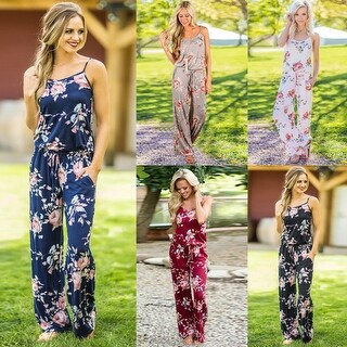 Floral Wide Long Pants Jumpsuit