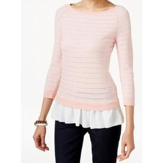 Tommy Hilfiger NEW Pink Women's Size Large L Ruffle Tunic Sweater