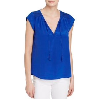 Joie Womens Peasant Top Silk Smocked