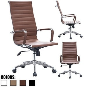 2xhome - Brown Modern High Back Tall Ribbed PU Leather Swivel Chair