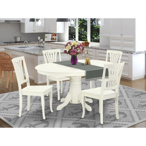 """Oval 42/60 Inch Table with 18"""" Leaf and Vertical Slatted Chairs - Linen White Finish (Pieces Option)"""