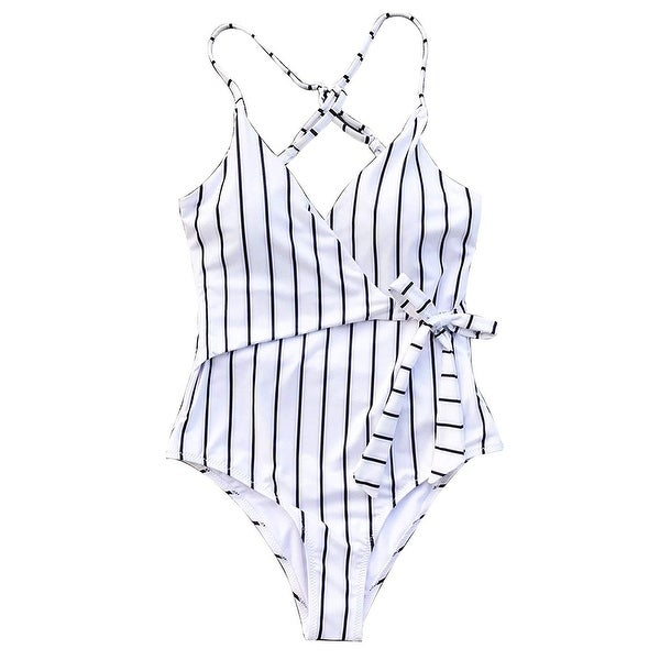 90ff316916 Shop Cupshe White Women's Size XL One-Piece Striped Wrap Cross-Back Swimwear  - Free Shipping On Orders Over $45 - Overstock - 28444384