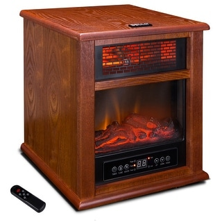 Della Portable Electric 4 Element Infrared Stove Fireplace Wood Freestanding with Wheel, 1500W