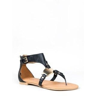 Qupid Blink-142 Metal Plate T-Strap Thong Flat Gladiator Sandal