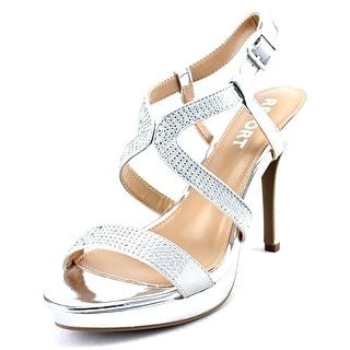 Report Lovejoy Women Open Toe Synthetic Silver Sandals