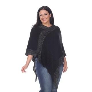 Plus Size Sansa Fringe Poncho - Black