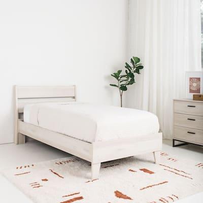 Socalle Natural Wood Platform Bed