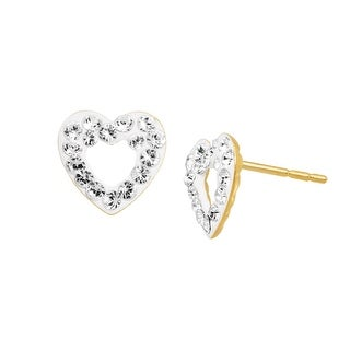 Open Heart Stud Earrings with Crystals in 14K Gold