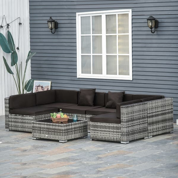 Outsunny 7 Piece Outdoor Patio Furniture Set With Modern Rattan Wicker Perfect For Garden Deck And Backyard On Sale Overstock 20508198