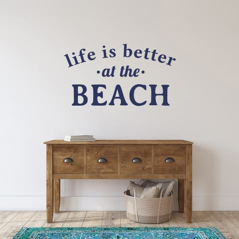 Life Is Better at The Beach Wall Decal 36-inch Wide x 20-inch Tall