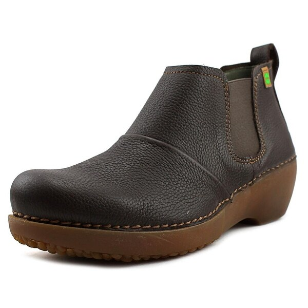 El Naturalista Tricot Women Round Toe Leather Brown Bootie