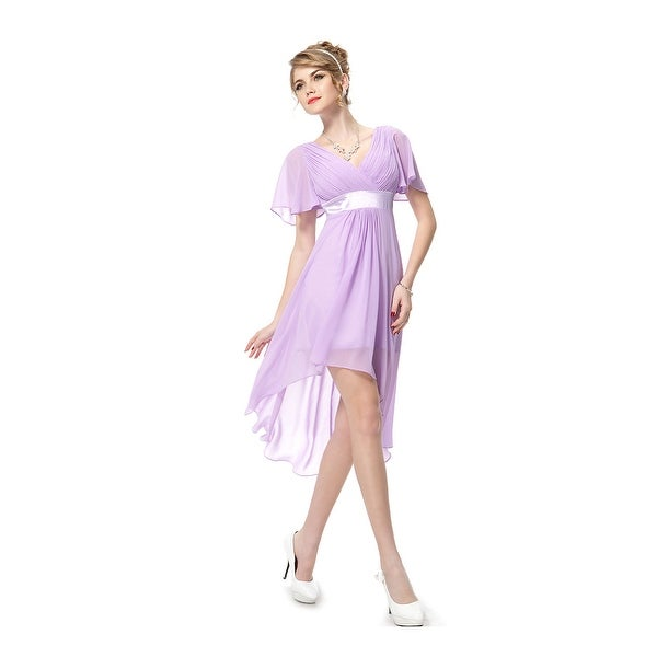 472c05900b Shop Lilac Chiffon V-Neck High Low Bridesmaid Dresses With Flutter ...