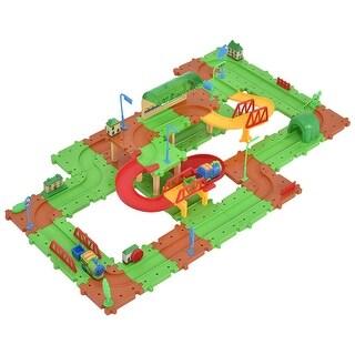 Costway 77PCS B/O Kids Child Plastic Brick Toys Electronic Building Blocks Railway Train - Multi