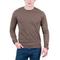Real Cashmere Brown Crewneck Cashmere Blend Mens Sweater
