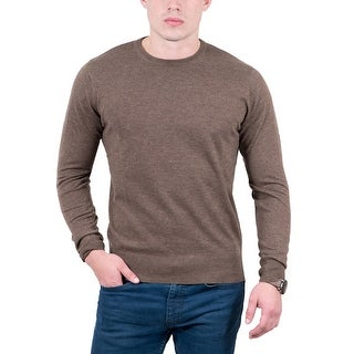 Real Cashmere Brown Crewneck Cashmere Blend Mens Sweater