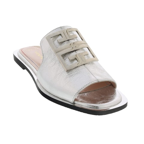 Ventutto Silver Crest Flat Leather Slide-