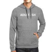 Adult-ish Unisex Heather Grey Hoodie Simple Trendy Typography Top