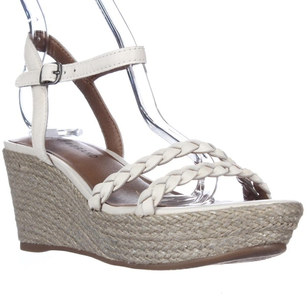 Lucky Brand Lyall Espadrille Wedge Braided Strap Sandals, Nigori/Silver - 6 us