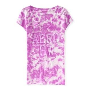 Aeropostale Womens Tie Dye Applique Embellished T-Shirt, purple, Small